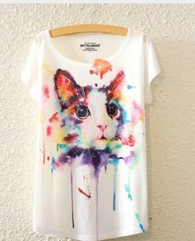 T-Shirt watercolor Katze
